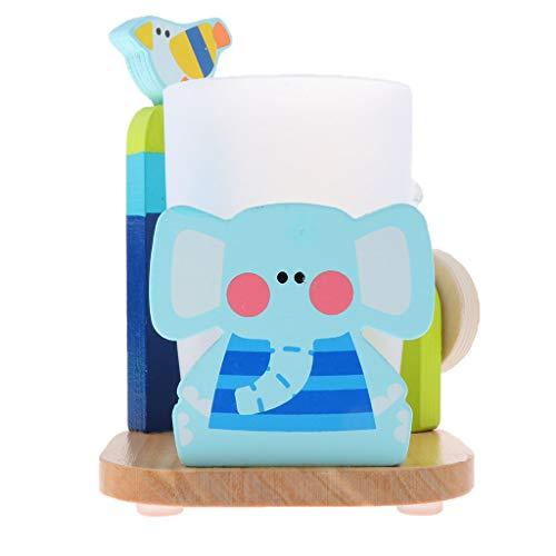 FLAMEER Kinder Zahnbürstenbecher + Zahnpastahalter mit 3 Minuten Timer - Elefant