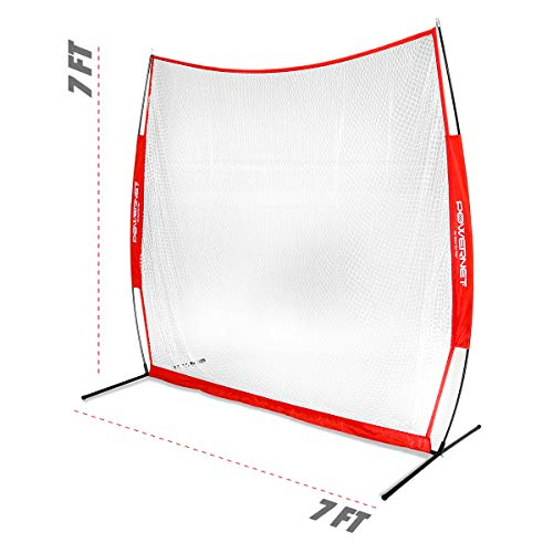 PowerNet 7x7 Golf Net | Use Real or Practice Balls | Practice Drives, Chips with Woods or Irons | Large Hitting Surface | Indoors or Outdoors (7 ft x 7 ft)
