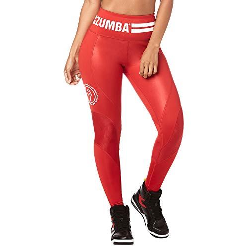 Zumba Comfy Elastici Fitness Leggings a Vita Alta Fitness Pantaloni Donna da Allenamento, Viva La Red, XXL