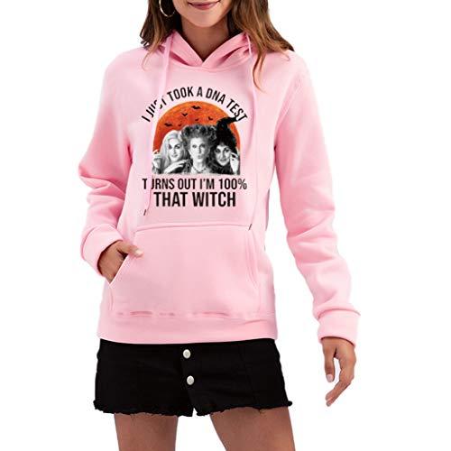 LXHcool Le Donne Ho Appena preso Un Test del Dna Turns out Sono 100 Quella Strega di Halloween Felpa Vintage Sander_Son Sorelle Tops Blouse (Color : Pink, Size : XXXL)