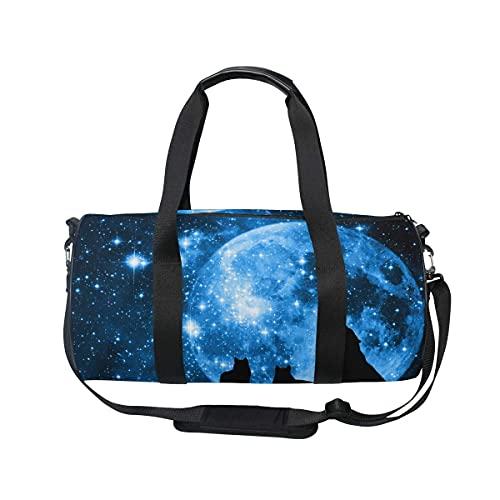Bolsa de deporte para gimnasio, Lobo con Galaxy Sky Swim Sports Travel Gym Bag con compartimento para zapatos y bolsillo húmedo para mujeres o hombres