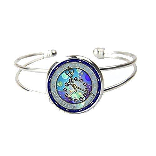 Vintage reloj pulsera de puño abierto reloj astronómico del zodiaco joyas horóscopo de astronomía en pulseras