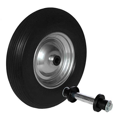 Schubkarrenrad Vollgummi 4.80/4 4.00-8 Rad pannensicher Schubkarrenreifen Achse (Schwarz)