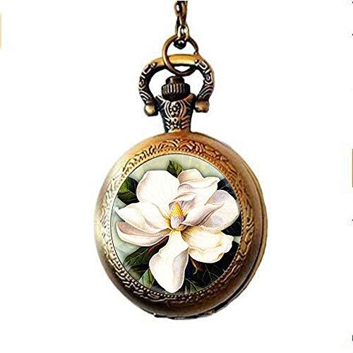 Montre à gousset vintage en forme de fleur de magnolia blanche, collier ras du cou