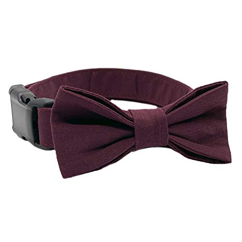 Maroon Wedding Attire Collar Size Medium 3/4 Inch Wide and 13-20 Inches Long with Bow Tie - Hand Made Dog Collar by Oh My Paw'd
