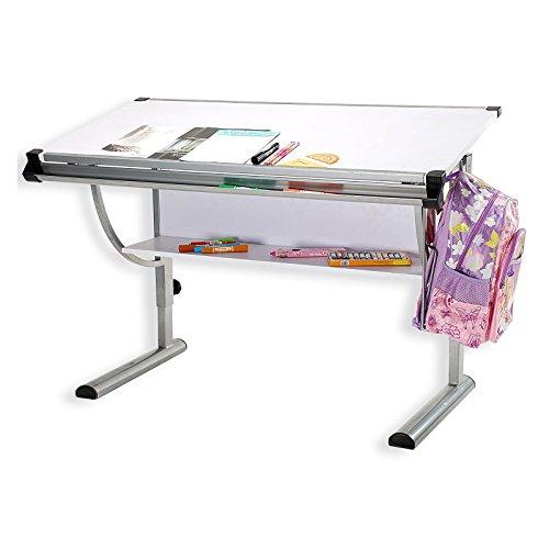 IDIMEX Kinderschreibtisch Schülerschreibtisch Cindy, höhenverstellbar und neigungsverstellbar, in weiß, stabiles Metallgestell