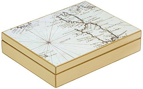 fundashop fcpv22–Box Manschettenknöpfe, Motiv Weltkarte, Holz, Elfenbein und Beige