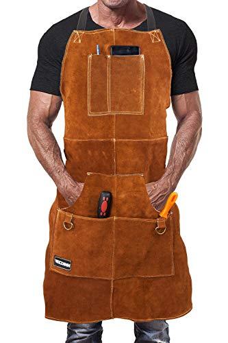 WELDINN Schweißerschürze aus Leder für Männer. Flammhemmende Thermoschürze zum Schweißen in der Werkstatt. Einstellbare Schutzkleidung mit 6 Werkzeugtaschen. - Hellbraun