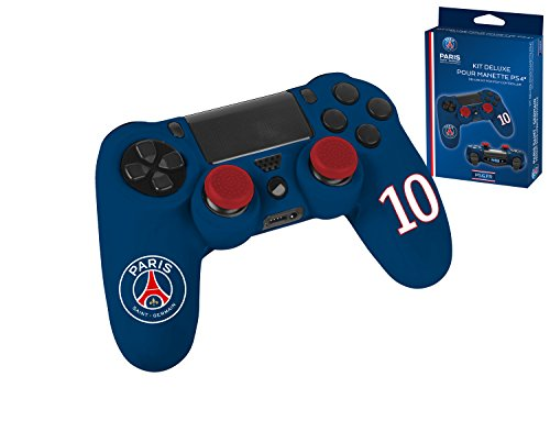Pack d'accessoires de customisation avec coque / housse souple en silicone anti-transpirante, thumb grips caps pour joystick et sticker pour light bar - PSG Paris Saint Germain n°10 Neymar Bleu
