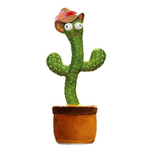 Boji Cactus de peluche, bailar, cactus electrónico, juguete electrónico con vibración, bailar, canto y balancín, sombrero de paja para bailar cactus, electrónico