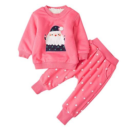 Proumy Weihnachten Baby Kleidung Set Kinder Pullover Pyjama Outfits Set Hose Kleinkind Kinder Baby Mädchen Jungen Weihnachtsmann Print Pullover Sweatshirt Tops(Rosa,Recommeded Age:18-24 Months)
