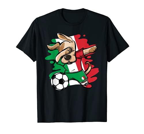 Divertido Dabbing Perro Fútbol de Italia - Bandera Italiana Camiseta