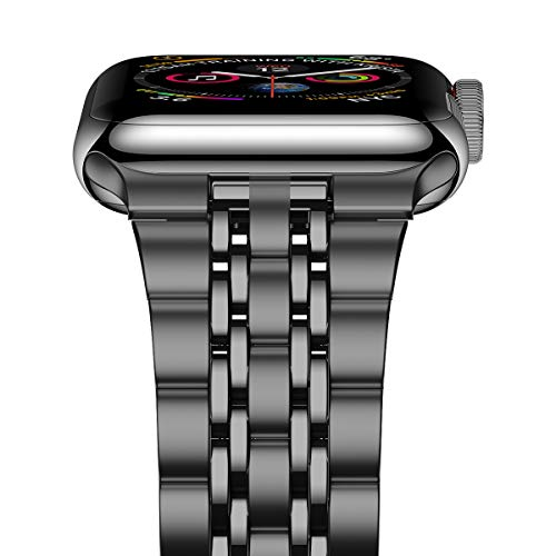iitee Compatible con Apple Watch Strap SE/Series 6/5/4 40mm Series 3/2/1 38mm, versión actualizada de acero inoxidable Link pulsera iWatch Band para mujer - Space Grey