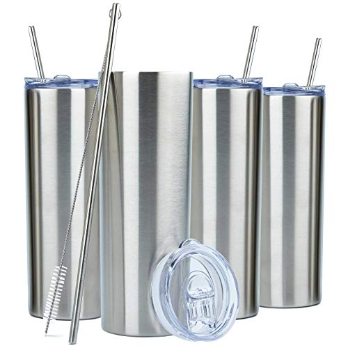 SKINNY TUMBLERS (4 pack) 20oz Stainless Steel Double Wall Insulated Tumblers with Lids and Straws |...