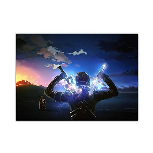 YGYT Anime Canvas Wall Art for Sword Art Online Bronze Sword Poster on Canvas for Home Living Room I Unframed I 24x32 inches