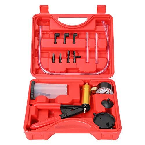 Yonligonju 2 in 1 Handheld Vacuum Pump Brake Bleeder Kit for Motorcycle 16 pcs Brake System Bleeding Tools with Gauge Adapters Automotive Brake Fluid Bleeding Set for Bike Car Truck (Red)