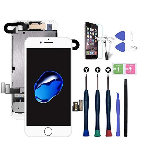 Xlhama Nueva Pantalla LCD táctil Compatible con iPhone 7 Plus con cámara Frontal, Altavoz con Sensor de proximidad, Herramientas y Protector de Pantalla-Blanco
