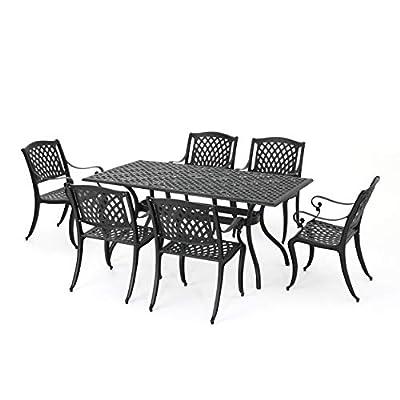 Christopher Knight Home Cayman Outdoor 6-Seater Cast Aluminum Dining Set, 7-Pcs Set, Black Sand