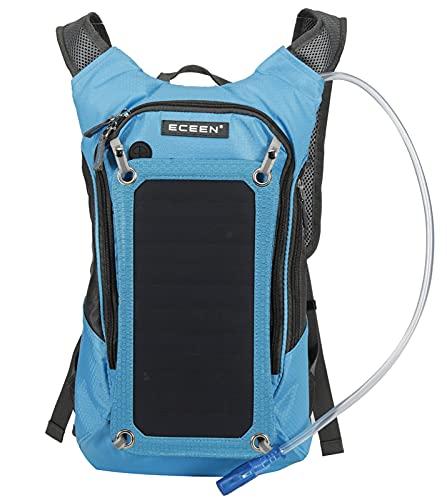 DYJXIGO Mochila solar con bolsa de agua de 2 litros de hidratación, mochila de la vejiga al aire libre de gran capacidad Panel solar Power Biking Ciclismo Daypack azul