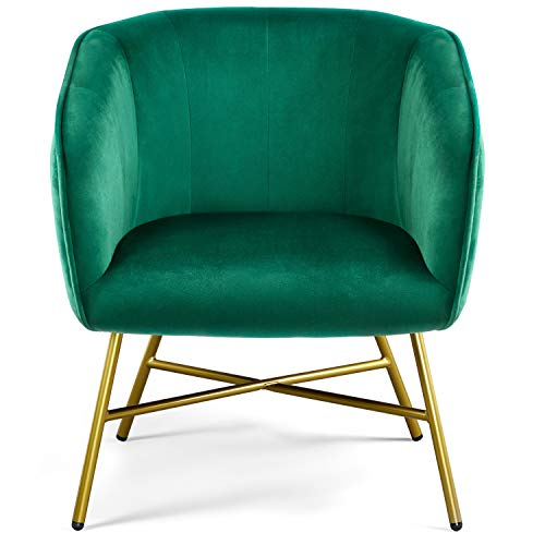 YAHEETECH Fabric Upholstered Dining Chair Accent Chair Tub Chair Soft Velvet with Backrest Armrest Leisure Chair for Kitchen Living Room Makeup Cafe Green