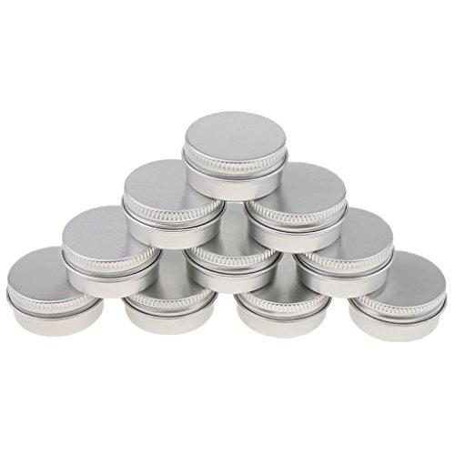 Homyl 10 Pcs 10ML/15Ml Pot Boîtier Boîte Vide en Aluminium pour Epice Baume Pommade de Maquillage Poudre Fard à Joues Rouge à Lèvres - argent, A-10ML-3,5 x 1,8 cm