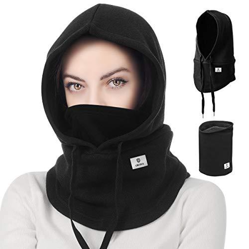 Balaclava Winter Hat Facial Neck Warmer Mask, Sporty Street Fashion, Unisex Couples Skiing (Black)