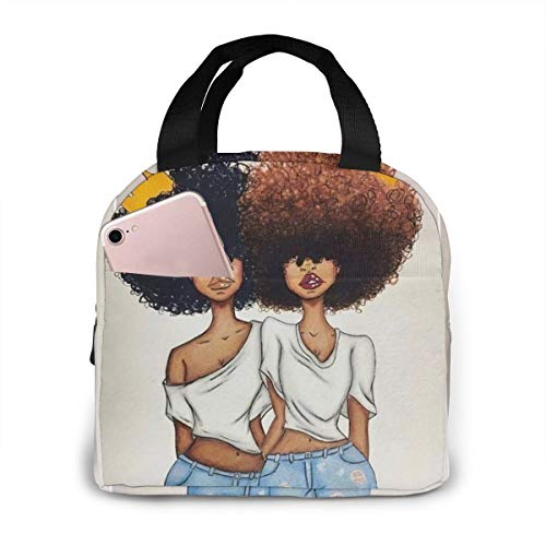 Matthzhang Lunch Bag Two Afro Girls African Queen Princess African American Women Girl Insulated Lunch Tote Boxes Cooler Bag For Adults Men Women Kids Boys Nurses Teens