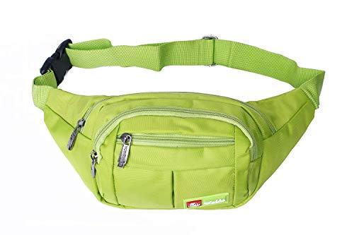 Toudorp Wasserdicht Gürteltasche / Bauchtasche mit 4 Einzeltaschen für Damen, Herren und Kinder, für Outdoor Reise und Laufen Grün