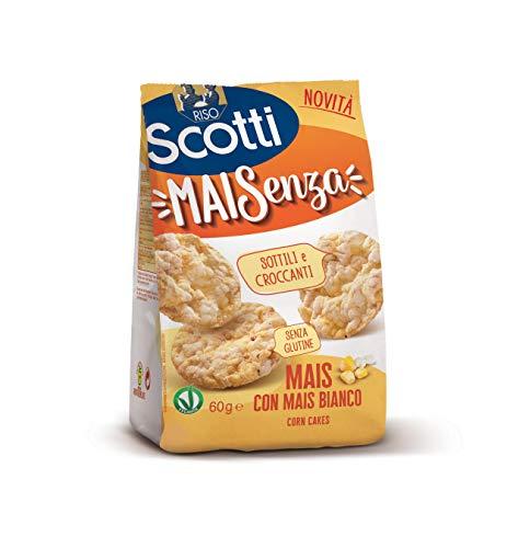 Riso Scotti Snack - Maisenza Mais con Mais Bianco - Snack Sottili e Croccanti Senza Glutine - 60 g