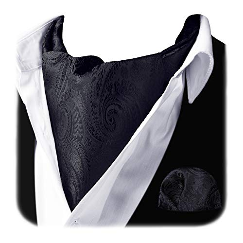 HISDERN Paisley Cravat Ascot Tie and Pocket Square Set for Men Wedding Cravat Scarf Gold