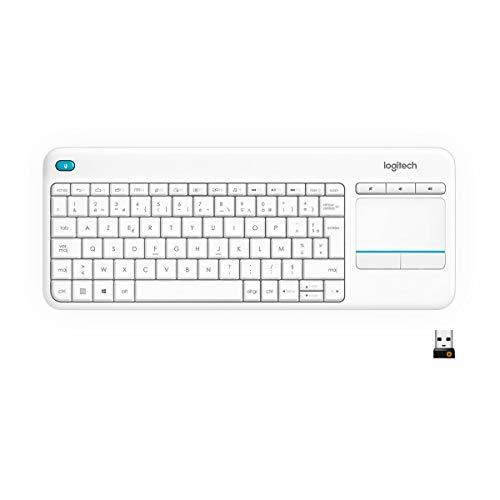 Logitech K400 Plus Tastiera Wireless per TV, PC, Home Theater, Tasti Multimediali Personalizzabili, Windows, Android, Laptop/Tablet, Layout Francese QWERTY, Bianco