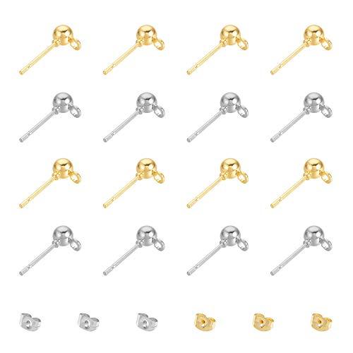 UNICRAFTALE 120pcs 2 Colores Pendientes de Botón de Bola de Acero Inoxidable Pendiente de Bola de Hierro Inoxidable Pendiente de Botón con Bucle Y Tuercas Pendientes de Color Dorado Y Acero