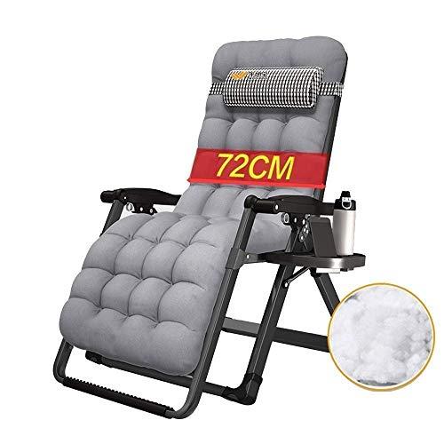 Solstolstol noll tyngdkraft, utomhus låsfåtöljer fällbar i oversize lounge solstol med bomullsdyna (färg: grå)