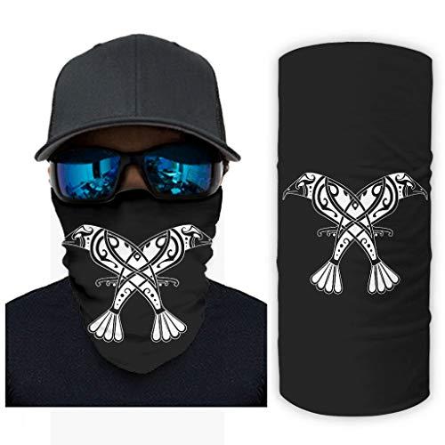 NA Keltisch Odin Zwei Rabe Huginn und Muninn Knoten Tattoo Druck Bandana Gesichtsmaske Sonnenschutz Schalmaske White OneSize