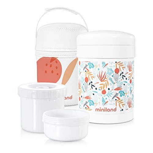 Miniland - Termo papillero de acero inoxidable para bebe con dos hermeticos interiores y funda - Termo para alimentos solidos de 700ml con dos contenedores. Coleccion Mediterranean.