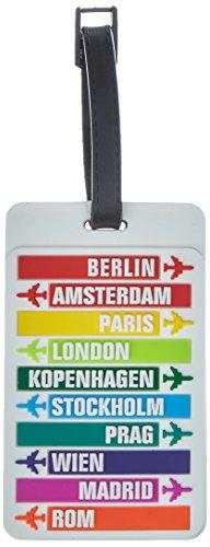 HAUPTSTADTKOFFER - Kofferanhänger inklusive Adressfeld, Kunststoff Kofferschild, Gepäckschild für Koffer Tasche Rucksack, Farbe: Citys Weiß