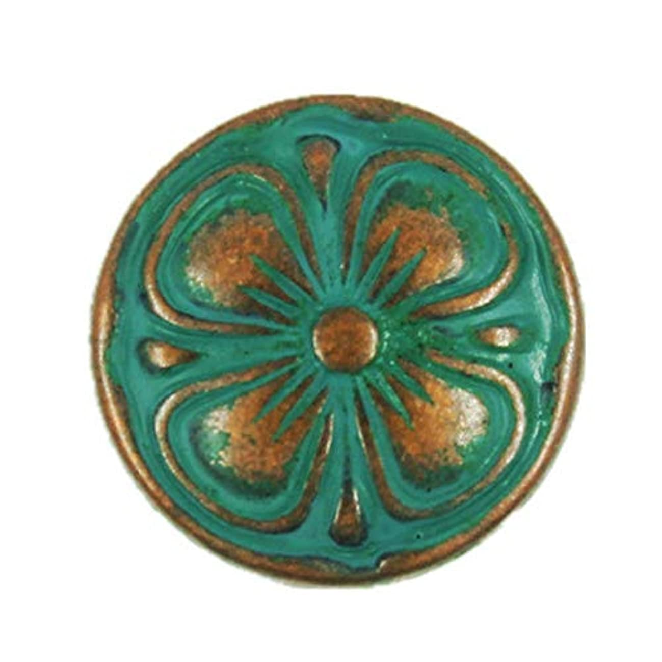 Bezelry 12 Pieces Antique Copper Clover Metal Shank Buttons in Deep Cyan Color. 15mm
