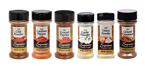 Supreme Spice Starter Set #1 with 6 Essential Spices for Cooking Basics – 6 Piece Spice Gift Set Includes Chili Powder, Onion Powder, Garlic Powder, Paprika, Cayenne Pepper and Cinnamon