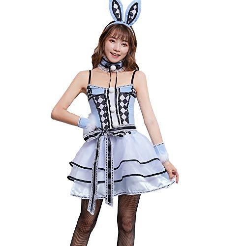 HJG Frauen Häschen Cosplay Holloween Kleid, Frauen Sexy Outfit Erwachsene Playboy Smoking Kaninchen Kellnerin Tier Kostüm, Rollenspiel Party,XL