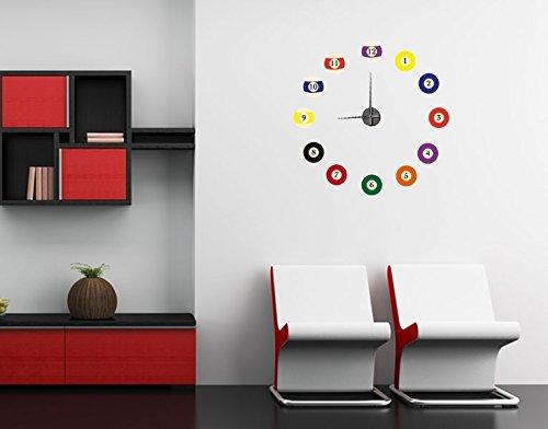 Klebefieber Wandtattoo-Uhr Billiardkugeln B x H: 80cm x 80cm Uhrwerk-Farbe: Schwarz