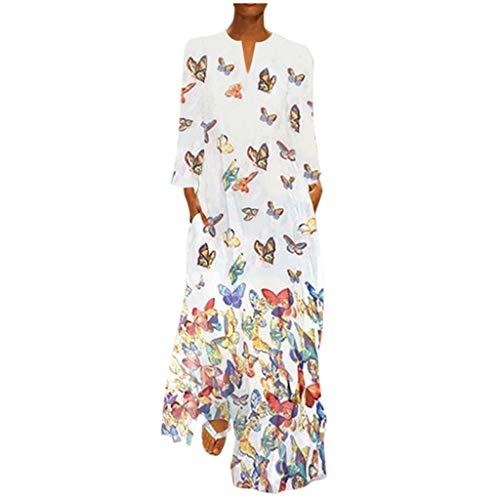 LOPILY Damen Kleider Schmetterling Druckkleid Hippie Lange Tunika Kleid Große Größen Bunte Abendkleider Elegant Cocktailkleid Sexy V-Ausschnitt Maxikleid für Hochzeitgast bis Gr.48