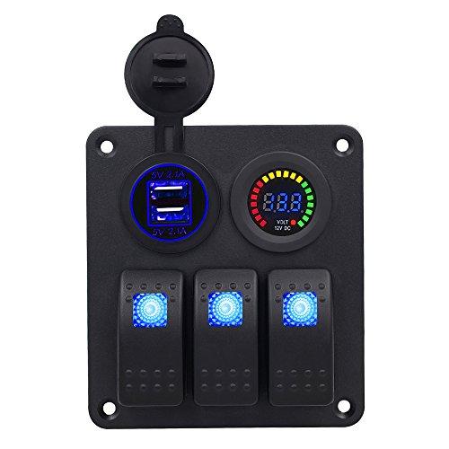 Kriogor 3 Gang Impermeabile Interruttore a Levetta Pannello ON-off Rocker Switch Pannello + LED Voltmetro 12V + 4.2A Dual USB Presa Caricabatterie per Auto Camper Barca