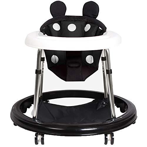 YUMEIGE Marchettes Bright Starts Walker style mignon, trotteur bebe avec système de suspension, pliable Trotteurs, 6-18 mois Trotteur bébé (Color : Black)