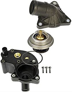 APDTY 013315 Thermostat With Upper & Lower Water Outlet Housing & O-Ring Gaskets Fits 1997-2001 Ford Explorer/Ford Ranger/Mercury Mountaineer (4.0L; Models With Screw In Coolant Temp Sensors Only)