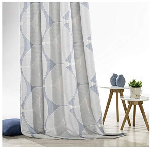 heimtexland ® Ösenschal Dekoschal Silber blau Blickdicht 245 x 140 cm Gardine modern aus hochwertigem Jacquard Gewebe Vorhang Typ560