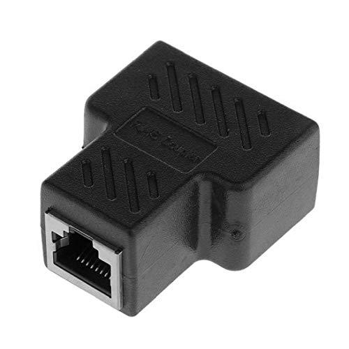 Gracy Adaptador RJ45 Splitter Conectores del 1 al 2 por Cable Ethernet Negro Doble Socket acoplador Doble HUB Interfaz Plug, Cables de alimentación y Conectores