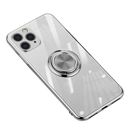 Carcasa para iPhone 11 Pro Max, funda transparente de silicona TPU, funda ultrafina para teléfono móvil, Crystal Clear con soporte para dedos, soporte magnético para coche para iPhone 11 Pro Max plata M