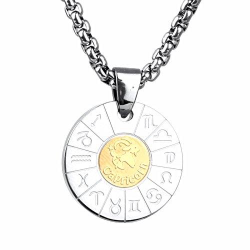 COPAUL Schmuck Edelstahl Tierkreis Sternzeichen Steinbock Anhänger Kette Halskette für Herren Damen, Gold Silber