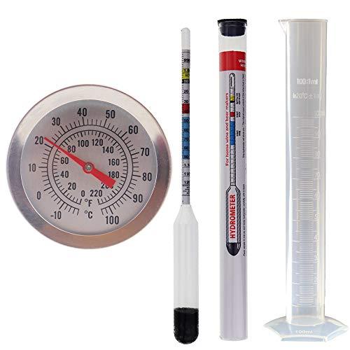Hidrómetro de elaboración propia y 300mm termómetro para preparación de cerveza y tarro de prueba de 100ml, paquete de equipo de elaboración propia