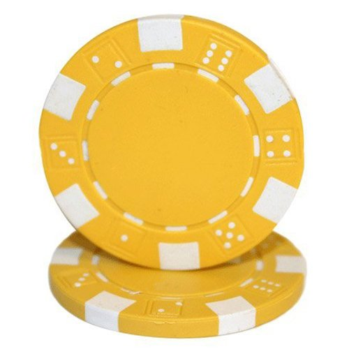 Brybelly 50 Yellow Clay Composite Striped Dice 11.5 Gram Poker Chips